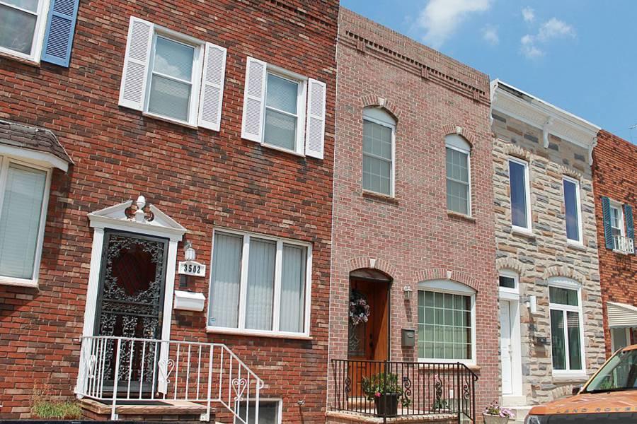 Row houses in Baltimore's Highlandtown neighborhood