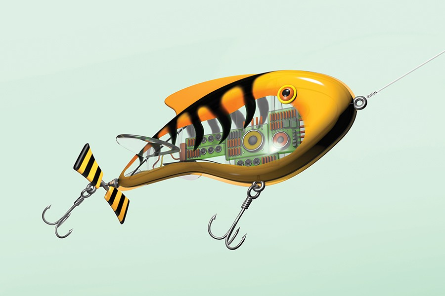 An illustration of a plastic fishing lure with a computer chip resting inside and two fish hooks trailing behind