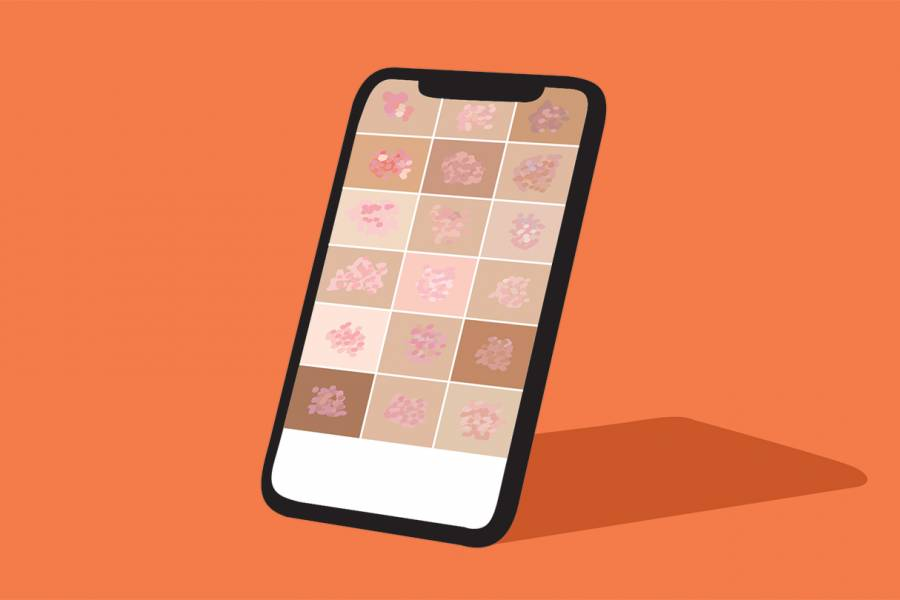 illustration of a cellphone displaying photos of rashes