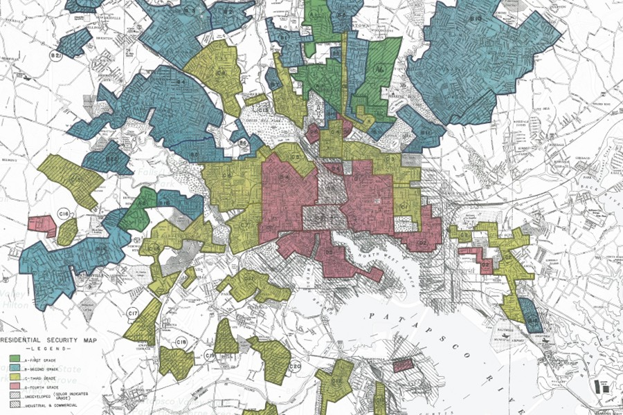 Map shows colored overlays of sections of the city labeled blue, green, yellow, and red