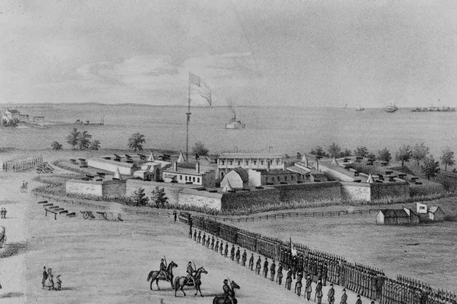 Black and white lithograph drawing depicts Fort McHenry National Monument and Historic Shrine