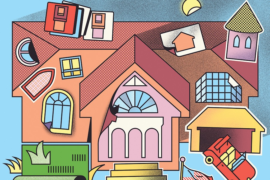 Illustration depicts a house with a faux-Roman colonnade, a crooked window, and various other garish add-ons like astroturf, a red convertible, and a turret