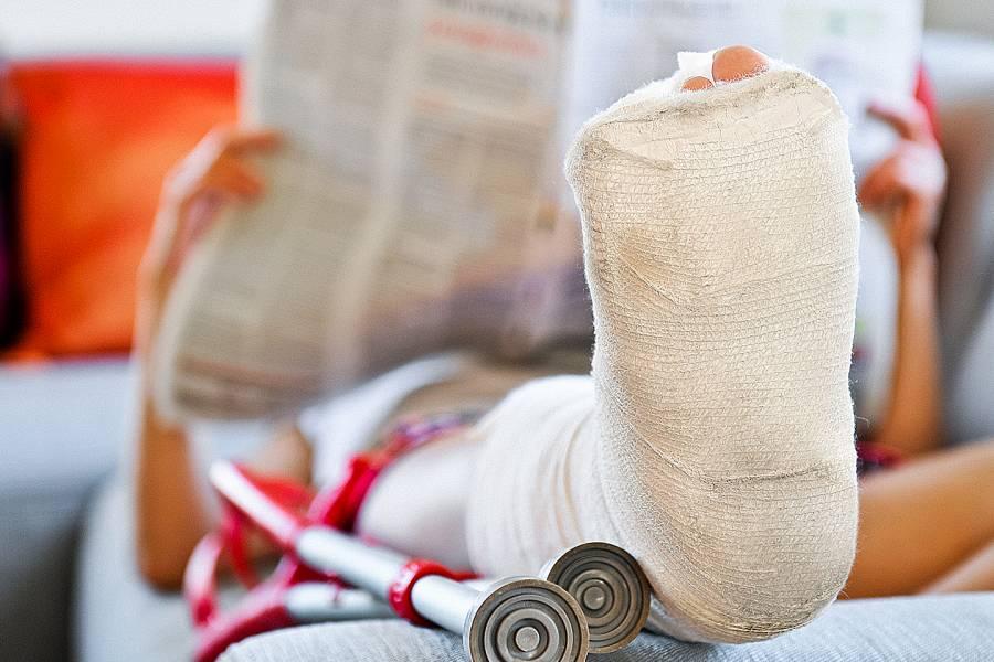 Closeup of a leg in a cast