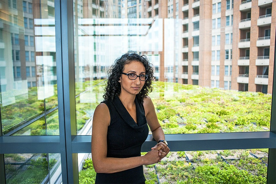 Johns Hopkins MBA student Mehr Pastakia with green roof at Legg Mason Tower