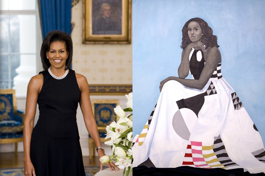 A side-by-side image of the two official portraits of Michelle Obama