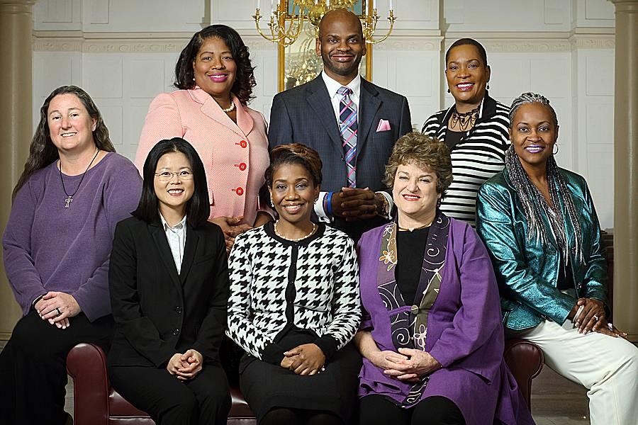 Martin Luther King Jr. Community Service Award recipients Maurisha White, Jerrell Bratcher, Linda Johnson-Harvey, Tatia Gilstrap, Lois Eldred, Caróle Campbell, Kelly Koay, and Karen Schneider.