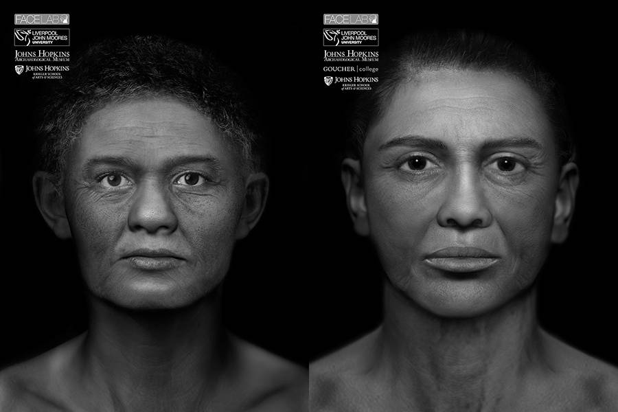 Restored mummy faces with darkened hairlines