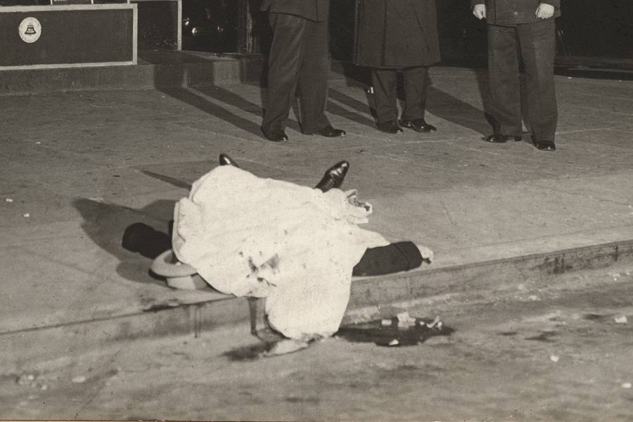 Detail of photo of dead body outside a diner