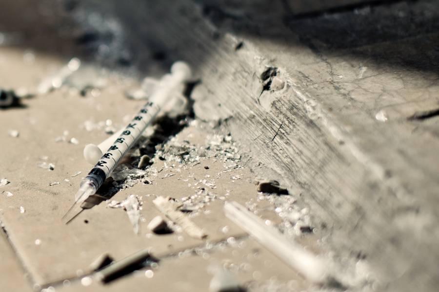 Discarded syringe