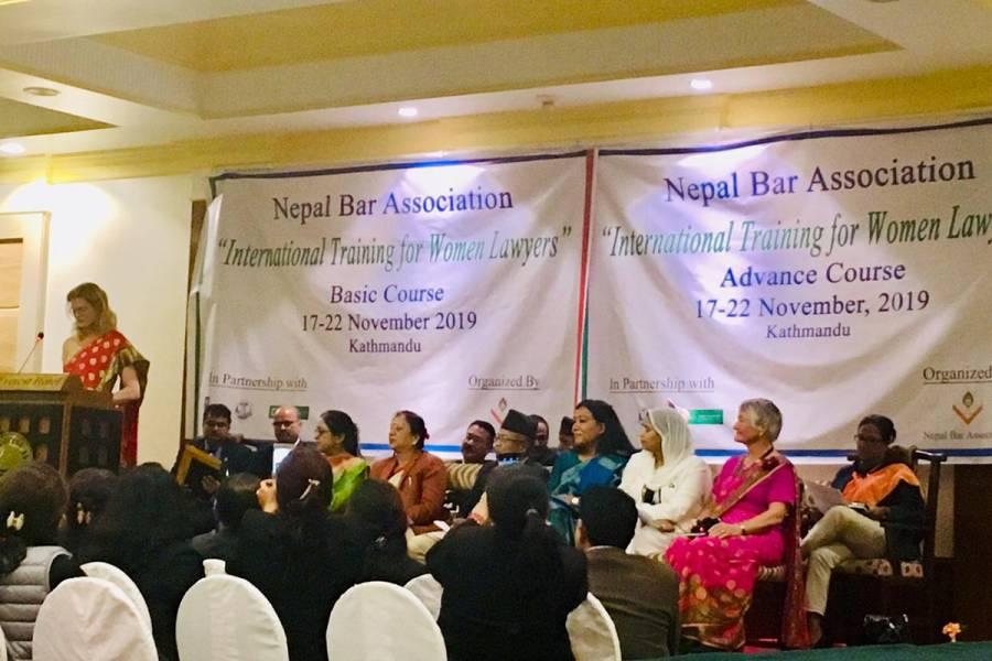 Lawyer Kristin Franceschi leads a women's professional development workshop in Nepal