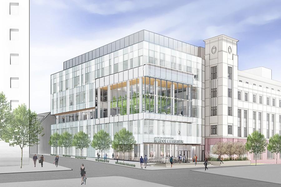 Nursing expansion, exterior view (conceptual)