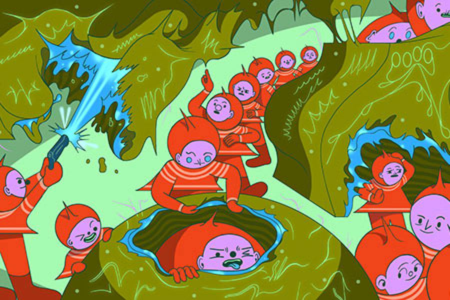 Cartoon-style illustration of phages shooting lasers at bacteria