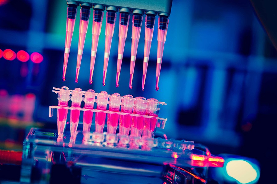 Eight pipettes drop pink liquid into test tubes