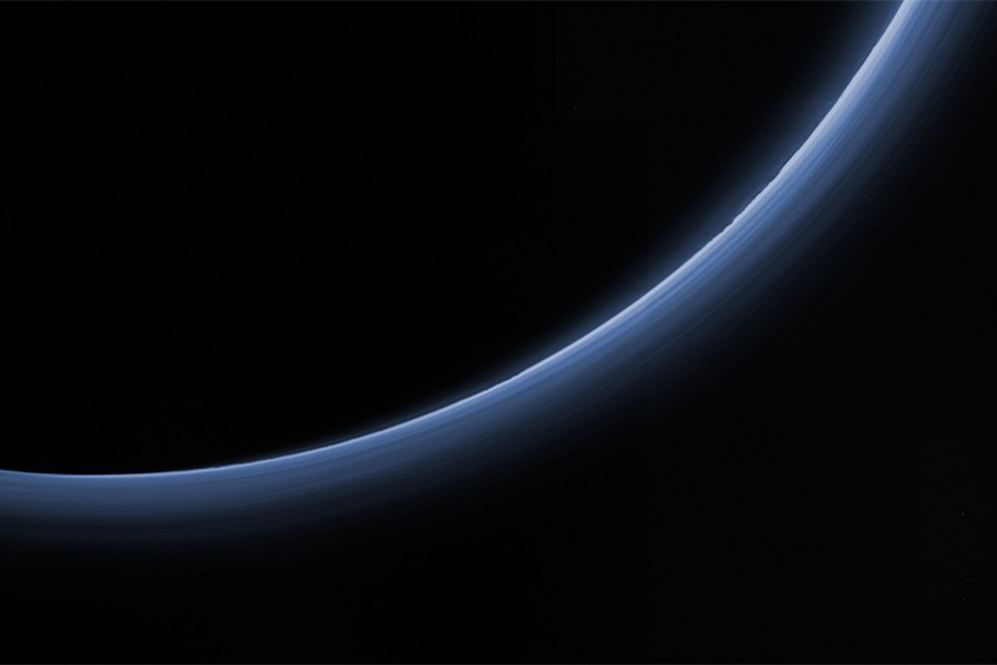 Blue haze over Pluto