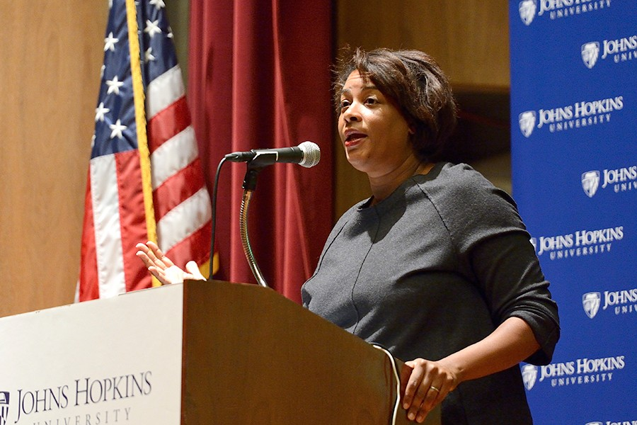 Dawn Porter speaks at podium