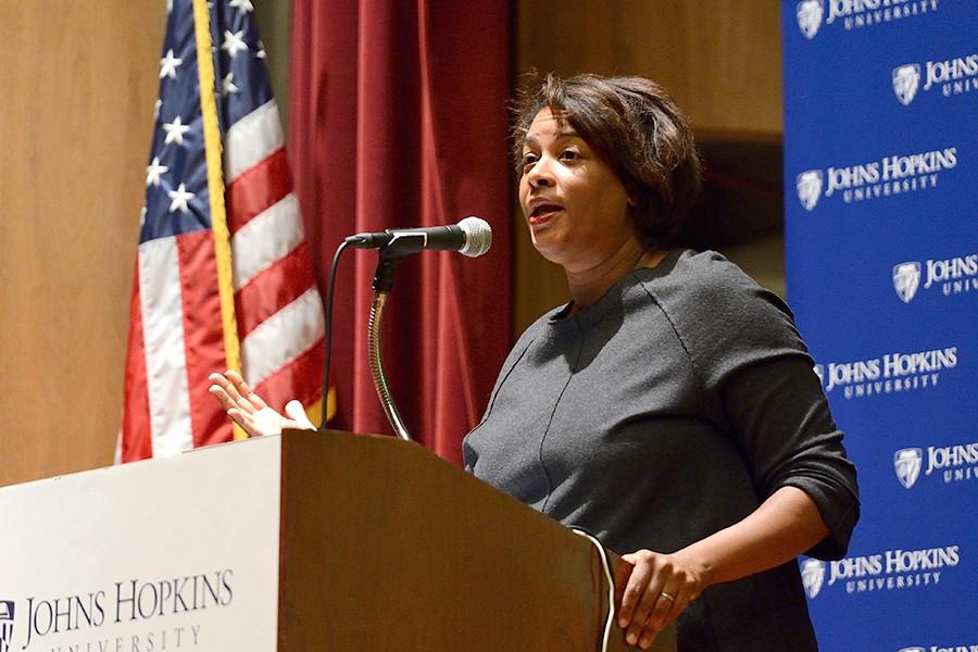 Dawn Porter speaks at podium