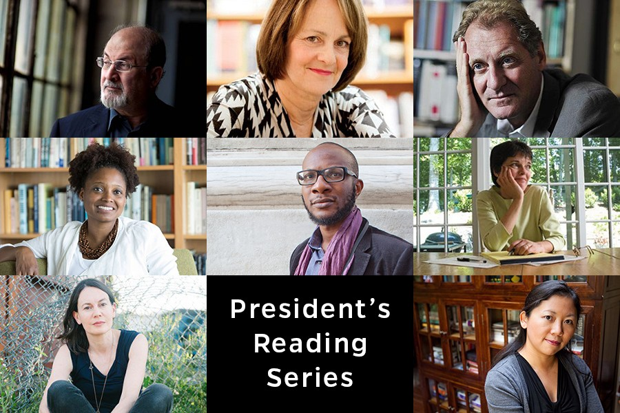 Authors include: (top row, from left) Salman Rushdie, Mary Jo Salter, Andrew Motion; (center row, from left) Tracy K. Smith, Teju Cole, Alice McDermott; (bottom row, from left) Katharine Noel, and Yiyun Li