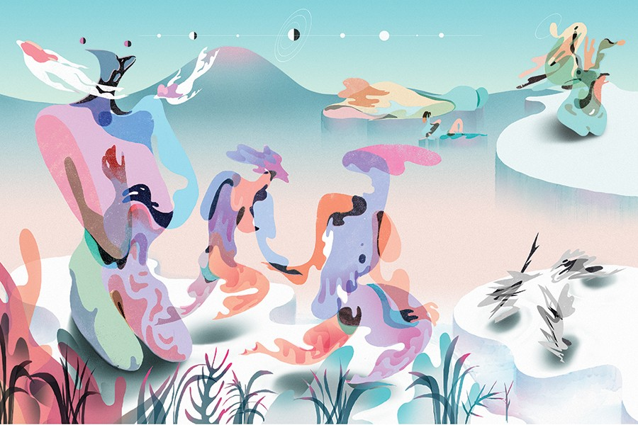 Psychedelic-style illustration shows drippy bodies made of different colors in a barren landscape