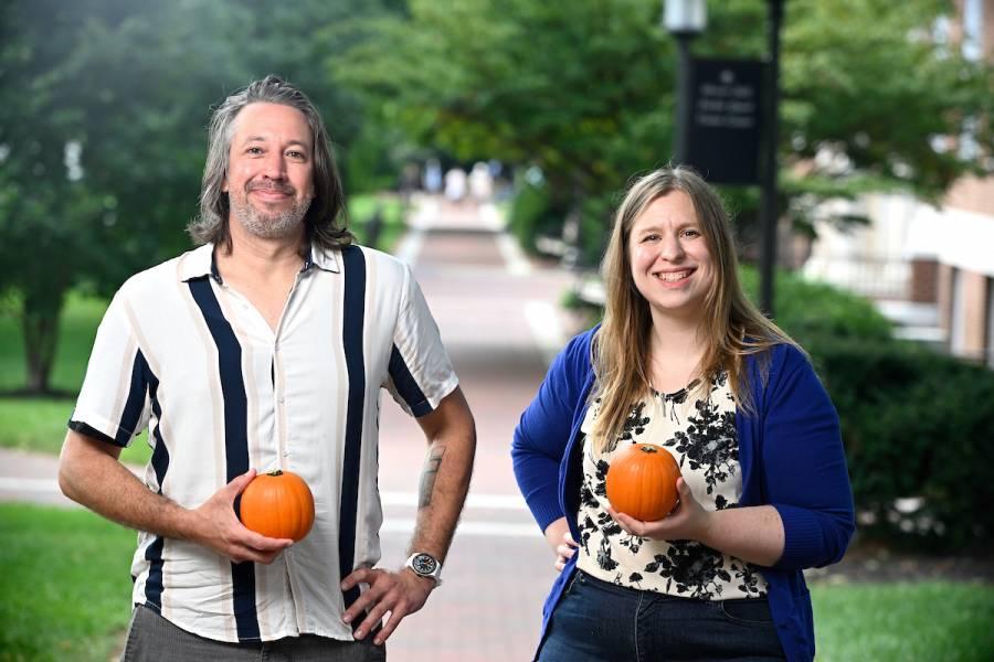 Jason Fischer and Sarah Cormiea with pumpkins