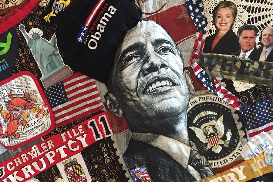 A political quilt of newspaper clippings from Obama's election