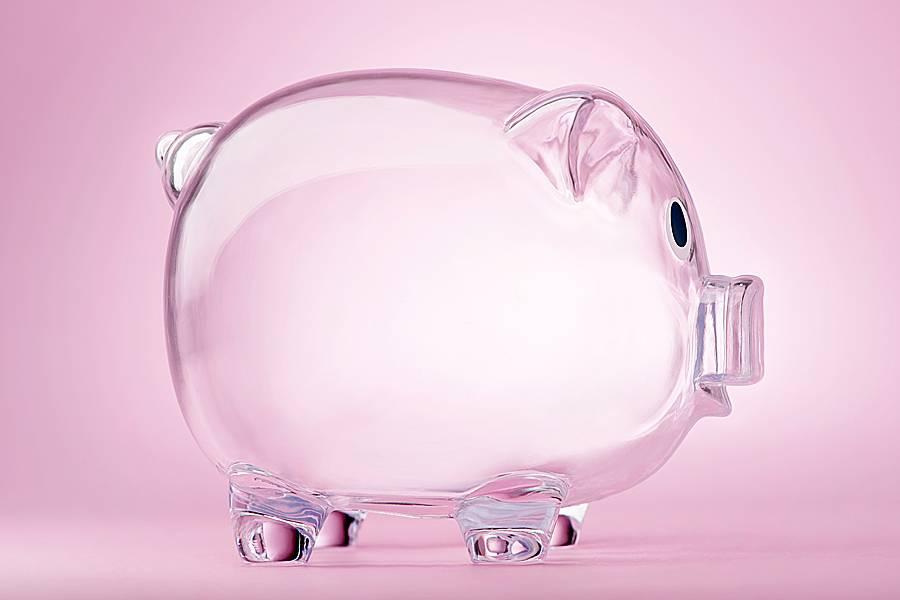 Empty see-through pink piggybank