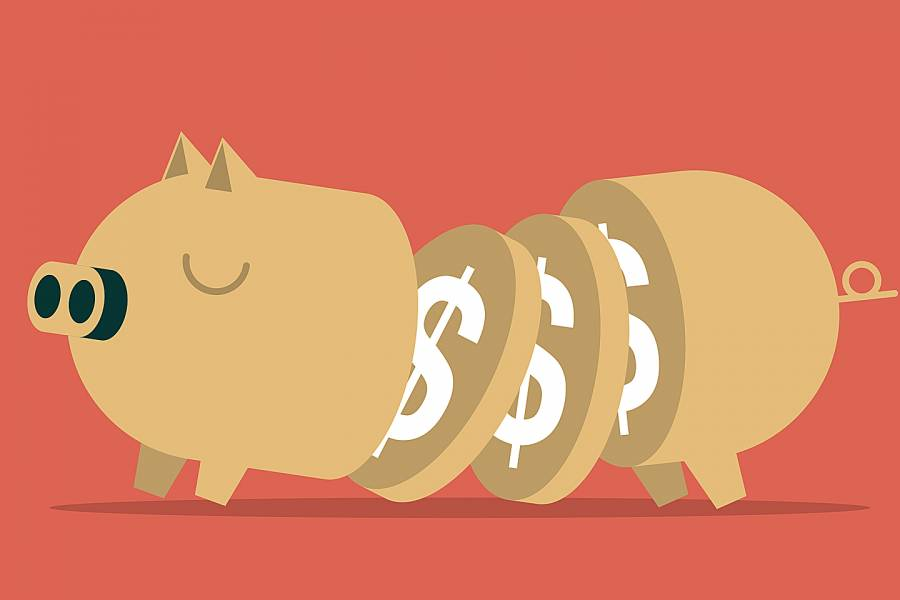 Whimsical drawing of pig with slices showing dollar signs
