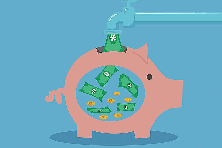 Illustration shows money flowing out of a faucet and into a piggy bank