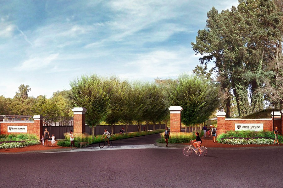 Rendering of brick gateway to a tree-lined road