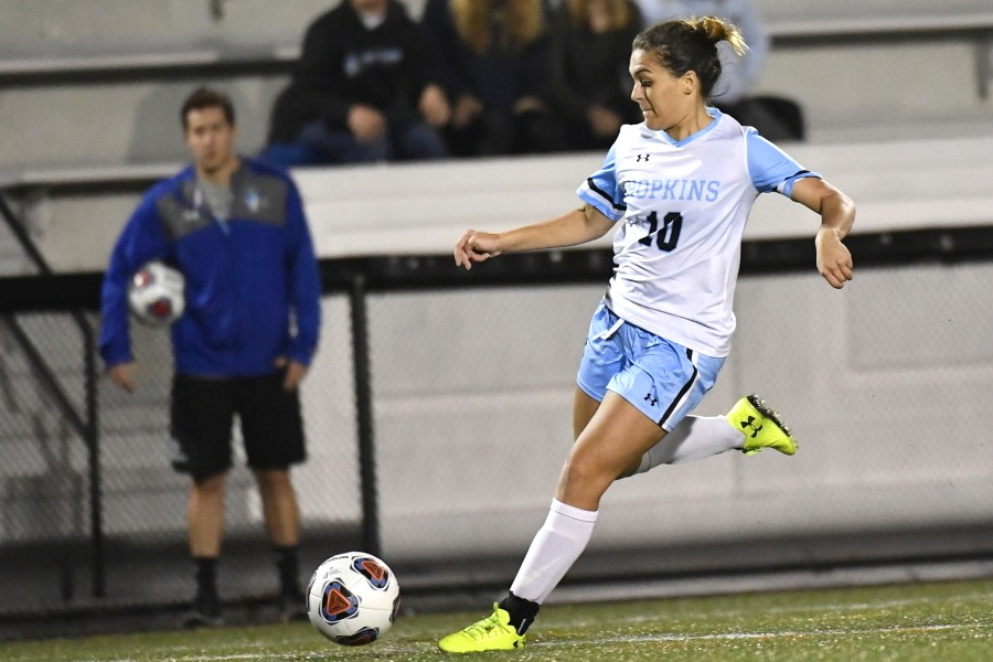 Michelle Santangelo prepares to kick the ball