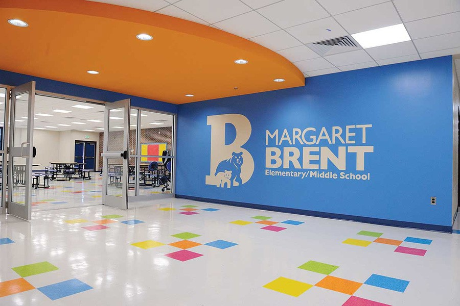 Side lobby and cafeteria at the Margaret Brent Elementary and Middle School