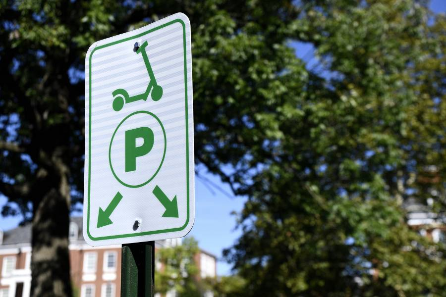 A scooter parking sign