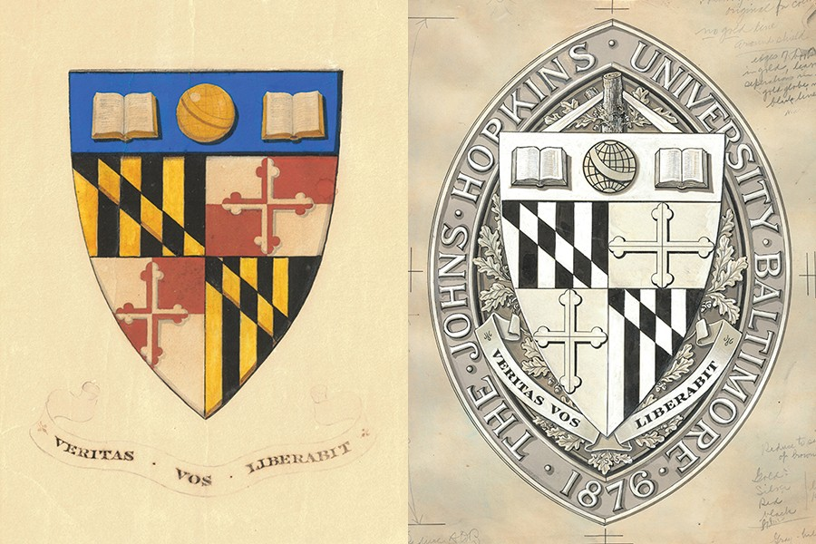 Side-by-side drawings of the university seal show the motto