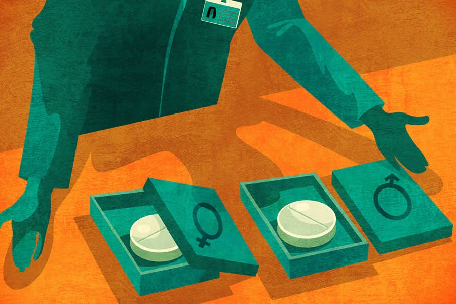 Illustration features a person in a lab coat offering two pills, one in a box with the female symbol and one in a box with the male symbol