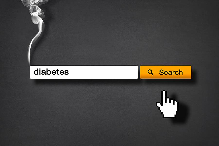 Search box that looks like a smoking cigarette with the word diabetes in it