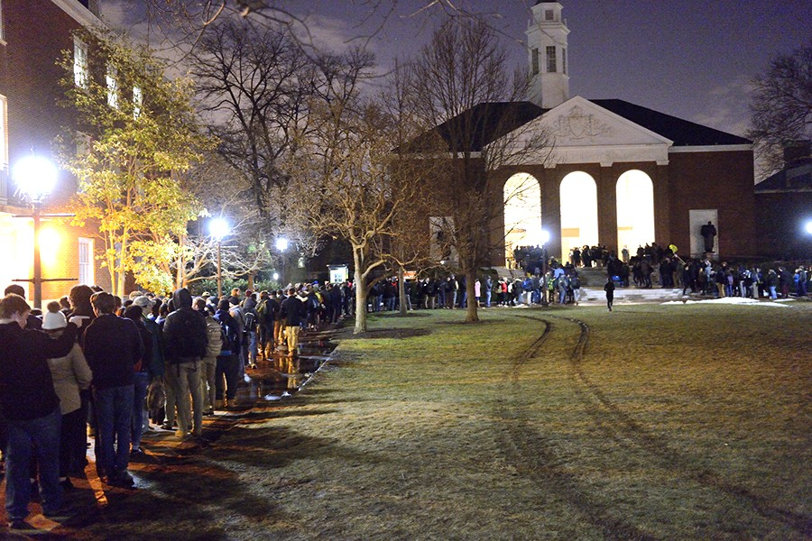 Large crowd lines up outside Shriver Hall
