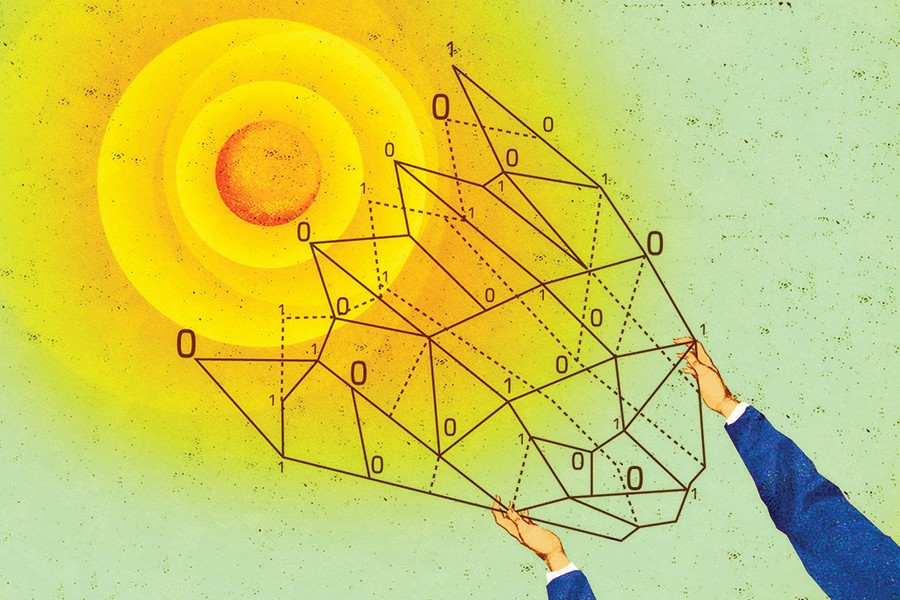 Illustration shows a hot sun in a green/blue sky, and the two hands holding an abstract diagram of a paint-by-numbers-shape