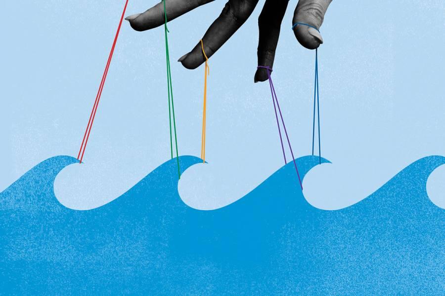 illustration depicting puppet strings pulling on ocean waves