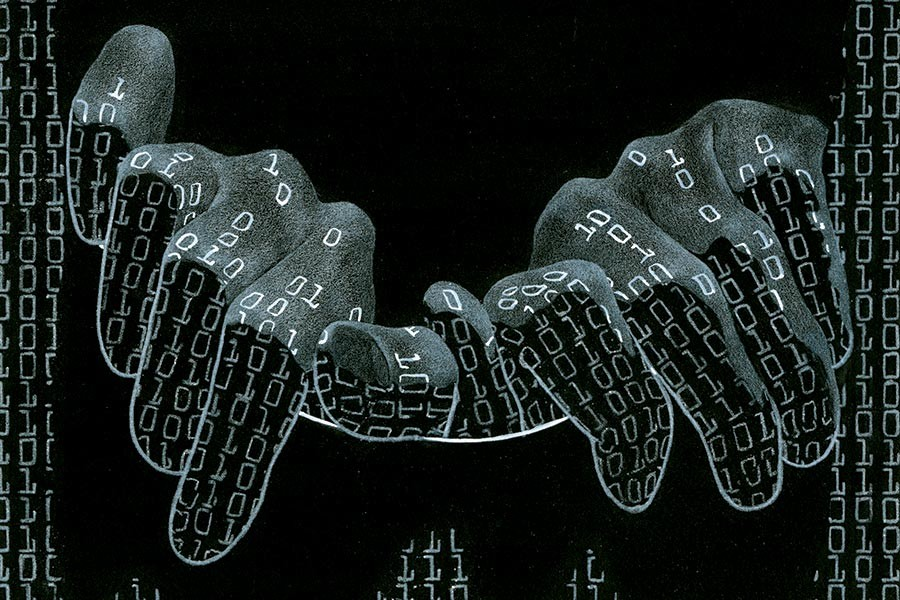 Creepy hands reach out through lines of code