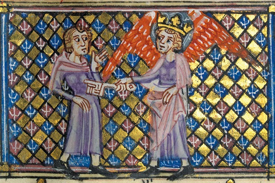 illuminated manuscript shows a king poking someone else with a giant key