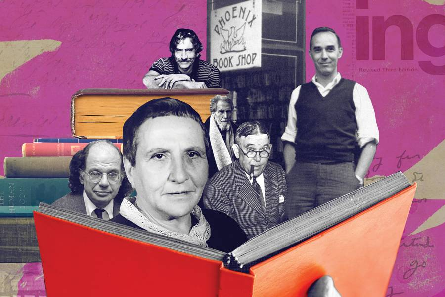 Collage of photos of Gertrude Stein, Robert Wilson, and others