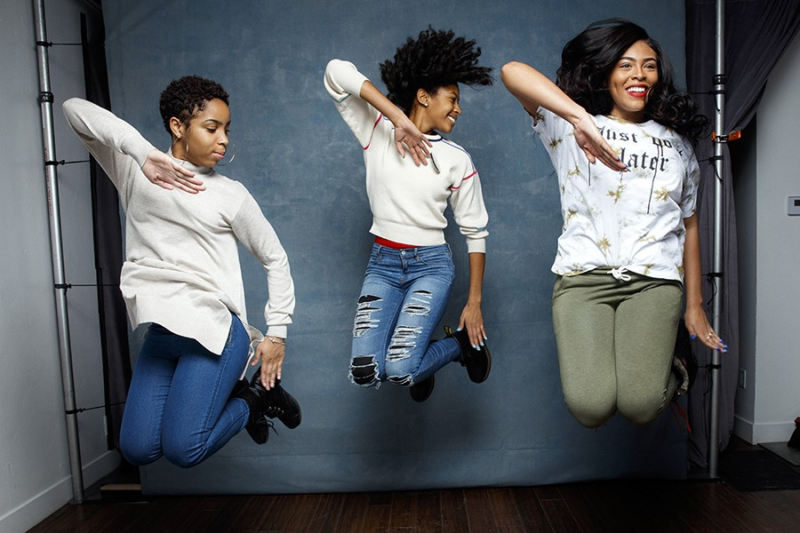 Tayla Solomon, Cori Grainger, and Blessin Giraldo jump in unison in 'Step' promo photo
