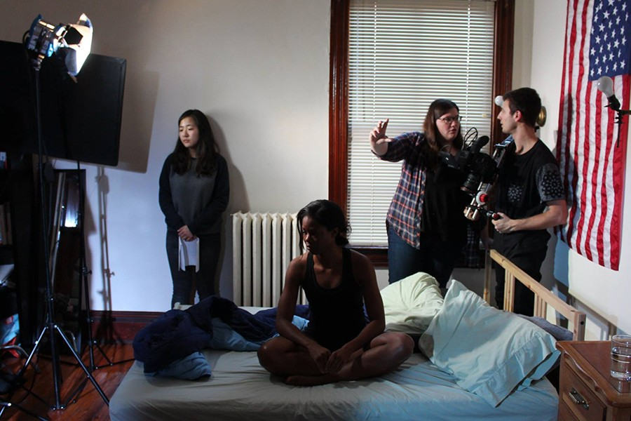 Students prepare to film a scene for 'Scars'