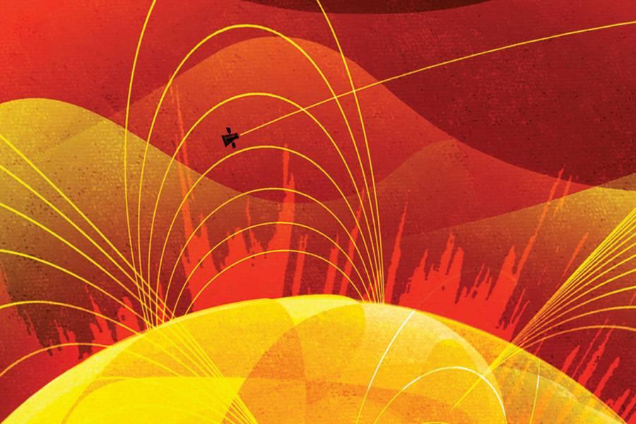 Illustration of the solar probe flying through the sun's atmosphere