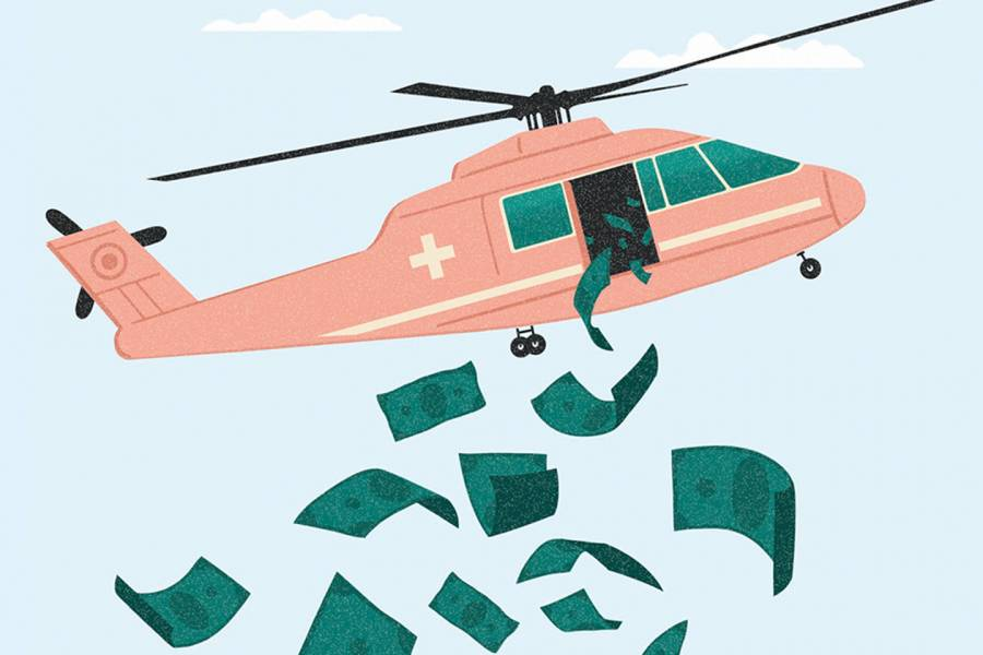 Helicopter dropping dollar bills