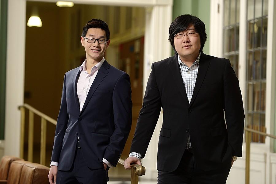 Hopkins debaters Kuan Hian Tan (left) and Harry Zhang