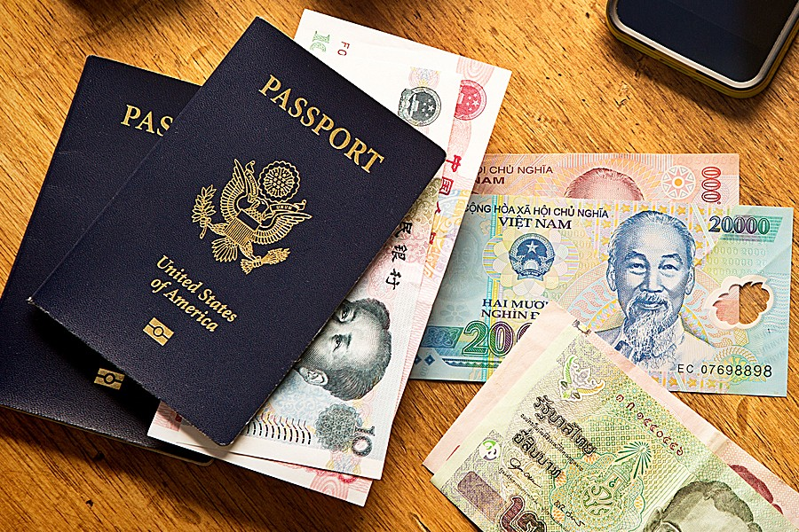Passport and foreign currency.