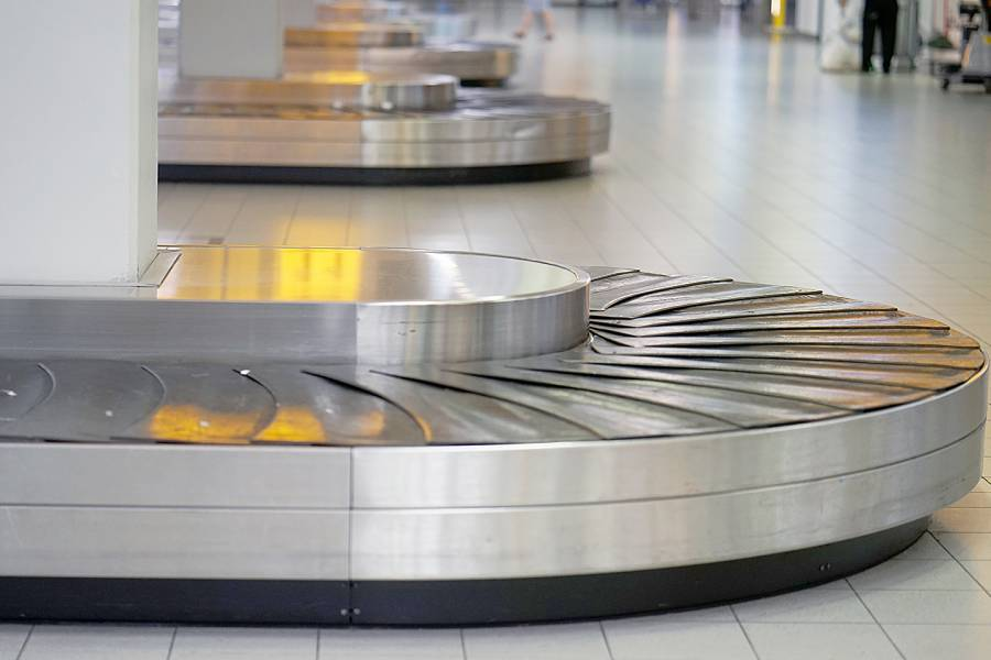 Empty airport baggage belt