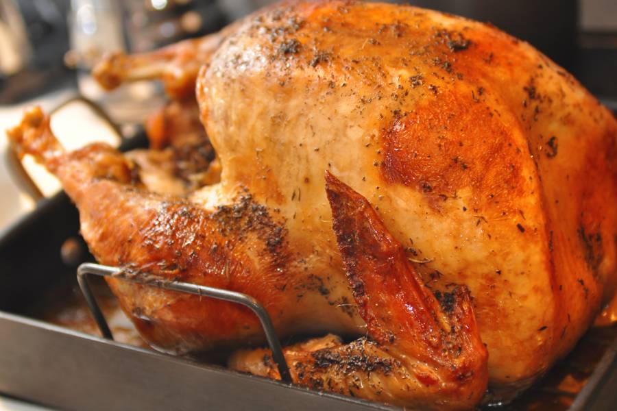 Cooked turkey in a roasting pan