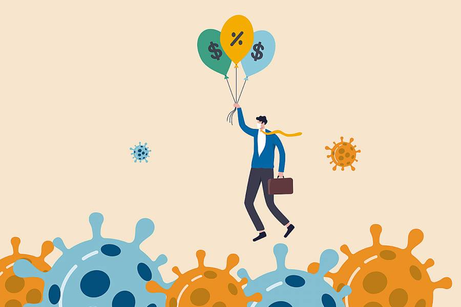 Illustration of man holding balloons with money symbols flying over the coronavirus
