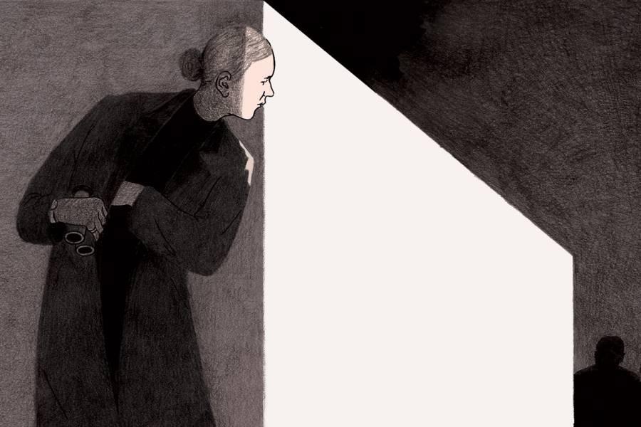 Illustration of a woman spy peering around the corner